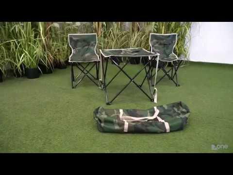 Set completo camouflage 2 sedie e tavolino pieghevoli con sacca per il trasporto