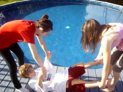 Karina & Rebecca Throwing Thomas In The Pool.