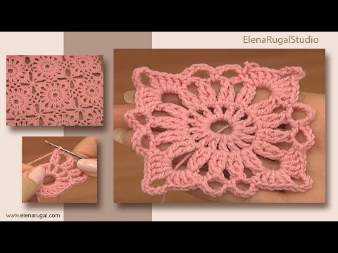 Crochet Small Square Motif Tutorial 4 Part 1 Of 2 Uniéndose A Los Motivos De Ganchillo