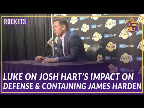 Video: Lakers Post Game: Luke Walton On Josh Hart's Impact and How They Game Planned Containing Harden
