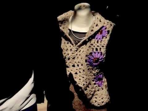 cuadritos a crochet - este chaleco esta formado por los cuadritos a crochet del tutorial anterior espero no les sea tan dificil de realizar y ya saben cualquier duda comentela.