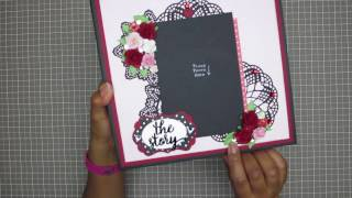 This album was **SOLD** through the website: Captured on Paperwww.capturedonpaper.comPapers: Life is Rosy (Hello) by Mambi Sheets/Me & My Big Ideas, and high-quality Bazzill cardstock Wafer Thin Dies: Memory Box and La-La Crafts (Hello tag die)Kathy King is credited for teaching me how to make both the Album cover and hidden hinge binding.  Please checkout her YouTube channel for her awesome tutorials and monthly kits!!!