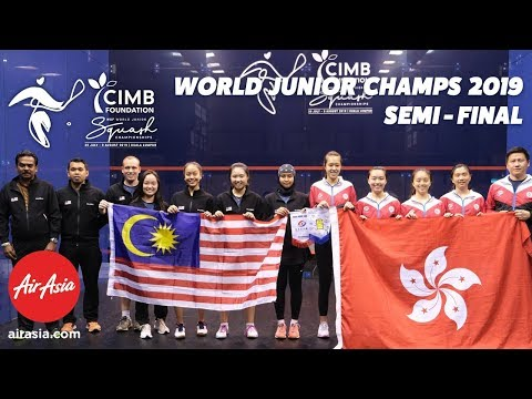 WSF World Junior Championships  2019 - Malaysia v Hong Kong - Teams Semi Final Livestream