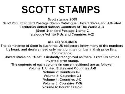 Scott Catalogue - http://www.giddz.com/scott.html complete world wide scott stamps download only £9.99 for six volumes the complete set.