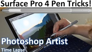 Surface Pro 4 Pen Demo - Photoshop Artist Time Lapse and 14 Pen Tips and Tricks!