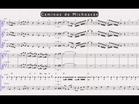 Caminos de Michoacan- Mariachi Partituras – Violin – Trompeta – Vihuela – Guitarron – Armonia