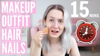 Video I TRIED GETTING READY IN 15 MINUTES!? (Makeup, Hair, Outfit & Nails) AD | Sophie Louise MP3, 3GP, MP4, WEBM, AVI, FLV Oktober 2018