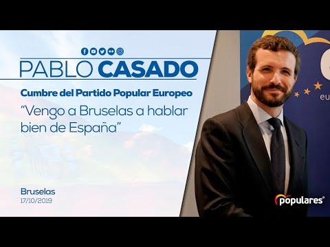 Pablo Casado interviene ante los medios en la cumbre del Partido Popular Europeo Bruselas.