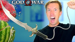 5 Gaming Weapons in REAL LIFE - God of War Gadgets vs Fruit Ninja (case opening unboxing review)