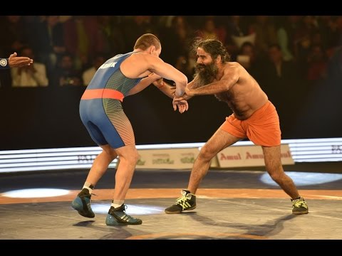 Baba Ramdev defeats Olympic wrestling medallist in PWL Promotional Bout