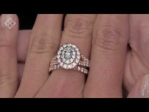 2ct Diamond Ovals Halo Bridal Set Rings in 18K Rose Gold - N4555