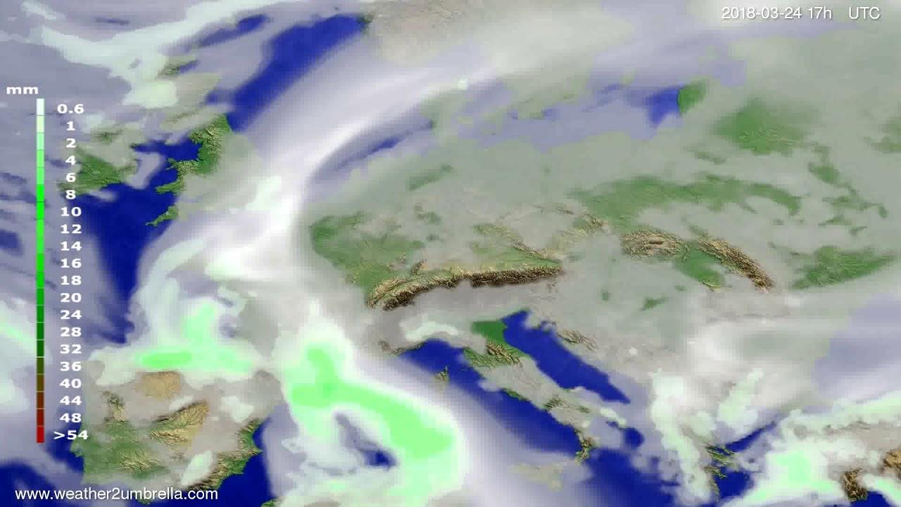 Precipitation forecast Europe 2018-03-22