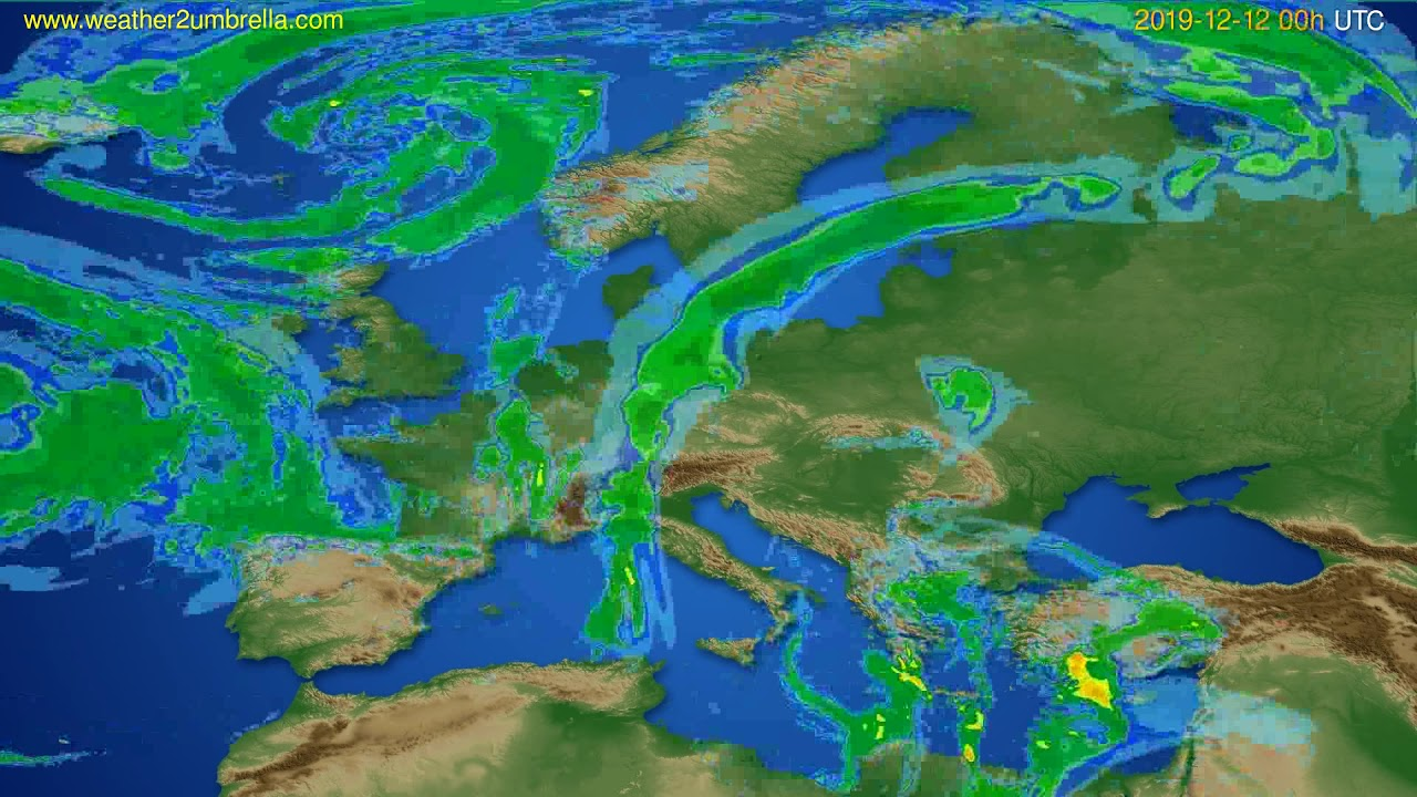 Radar forecast Europe // modelrun: 12h UTC 2019-12-11