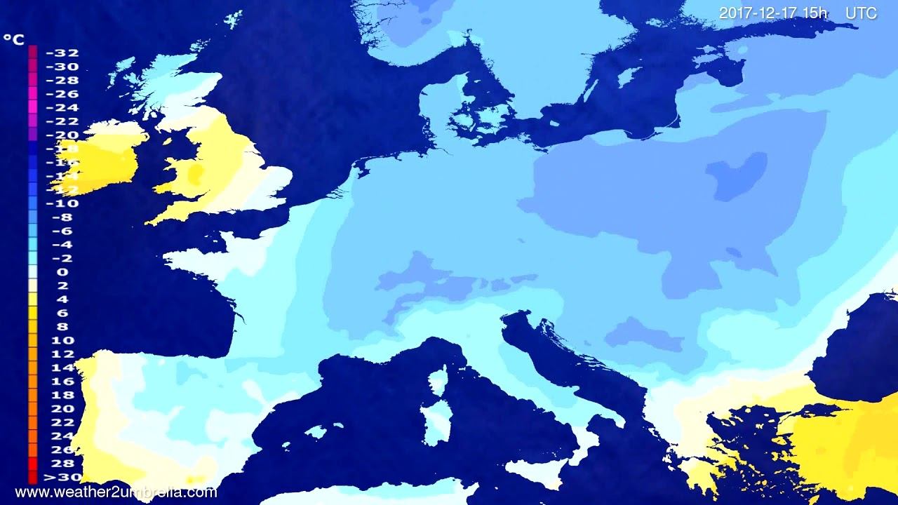 Temperature forecast Europe 2017-12-15