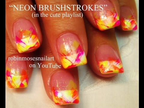 EASY Summer Neon Brushstrokes Nail Art