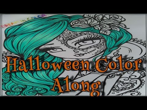 Part 1 - HAIR - Halloween Color Along - Dia De Los Muertos by Hannah Lynn