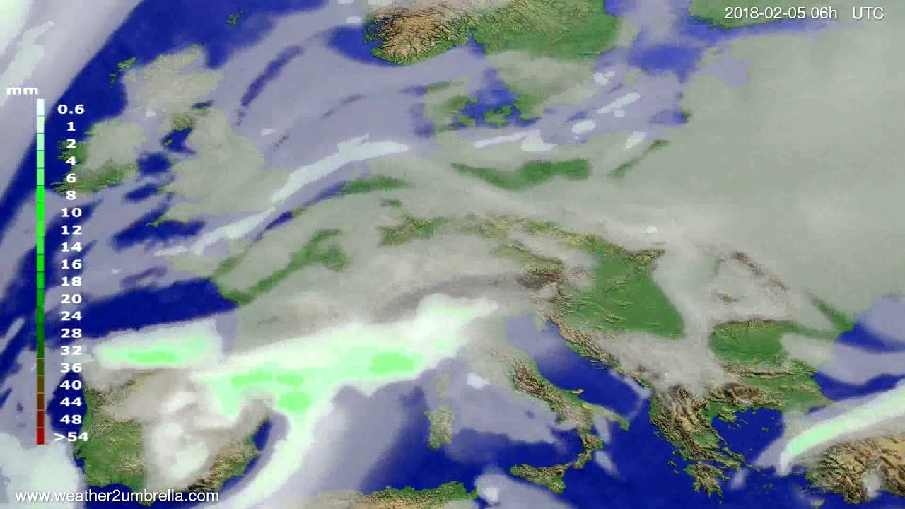 Precipitation forecast Europe 2018-02-02