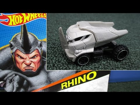 character - The Hot Wheels Marvel Rhino character car appeared in December 2014. I found mine at Toys R US but have also seen him at Target. Wherever you find the Hot Wheels Marvel cars, you may find ...