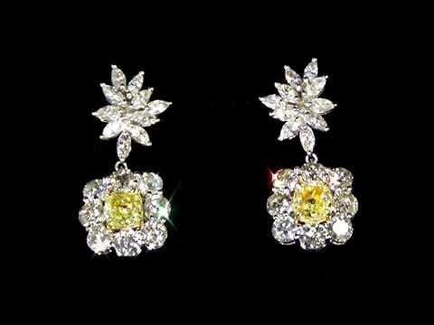 GIA Certified 2ct (TDW) Fancy Yellow Diamond Earrings