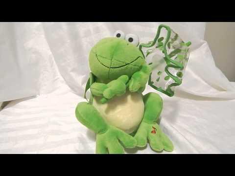Avon Animated Singing Frog Toy Green Clear Umbrella Soft Plush Stuffed Animal 7