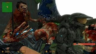 Counter Strike Source Zombie Escape mod online gameplay on ze_Halo_v1_2 map