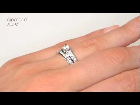 SDN3229 - Steeple Diamond 0.86ct And Platinum 2 Ring Bridal Set