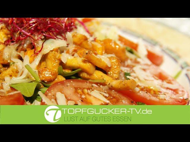 Gebratene Pfifferlinge mit Salbei an Rucola und Vinaigrette   Rezeptempfehlung Topfgucker-TV