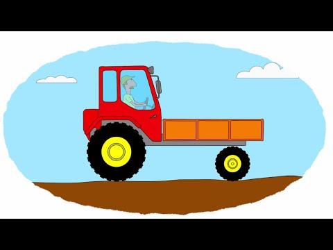 Смотреть раскраску про трактора и машины