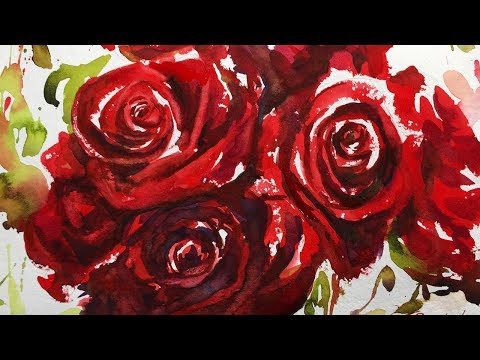 Watercolor Painting Tutorial, Red Roses