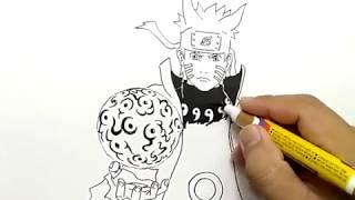 cara menggambar naruto six path mode rasengan dengan mudah / how to draw naruto easy