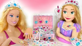 Giant Barbie Rapunzel Styling Head doll Toy Jewelry Necklace Ring mainan boneka Barbie Brinquedo