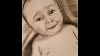 Timelapse of Baby Boy Charcoal Drawing