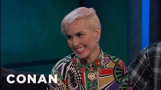 """The """"Bright"""" cast bonded over """"Heels On,"""" a sexually explicit reggae song that Noomi always had on repeat.More CONAN @ http://teamcoco.com/videoTeam Coco is the official YouTube channel of late night host Conan O'Brien, CONAN on TBS & TeamCoco.com. Subscribe now to be updated on the latest videos: http://bit.ly/W5wt5DFor Full Episodes of CONAN on TBS, visit http://teamcoco.com/videoGet Social With Team Coco:On Facebook: https://www.facebook.com/TeamCocoOn Google+: https://plus.google.com/+TeamCoco/On Twitter: http://twitter.com/TeamCocoOn Tumblr: http://teamcoco.tumblr.comOn YouTube: http://youtube.com/teamcocoFollow Conan O'Brien on Twitter: http://twitter.com/ConanOBrien"""