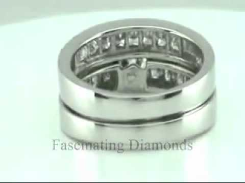 Round Diamond Wedding Rings Set With Princess Cut Side Stones On Sale