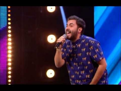 andrea - Italian Andrea Faustini (20-years-old) who travelled all the way from Rome to try and win a place in this year's show, wows the crowd with his version of Oti...