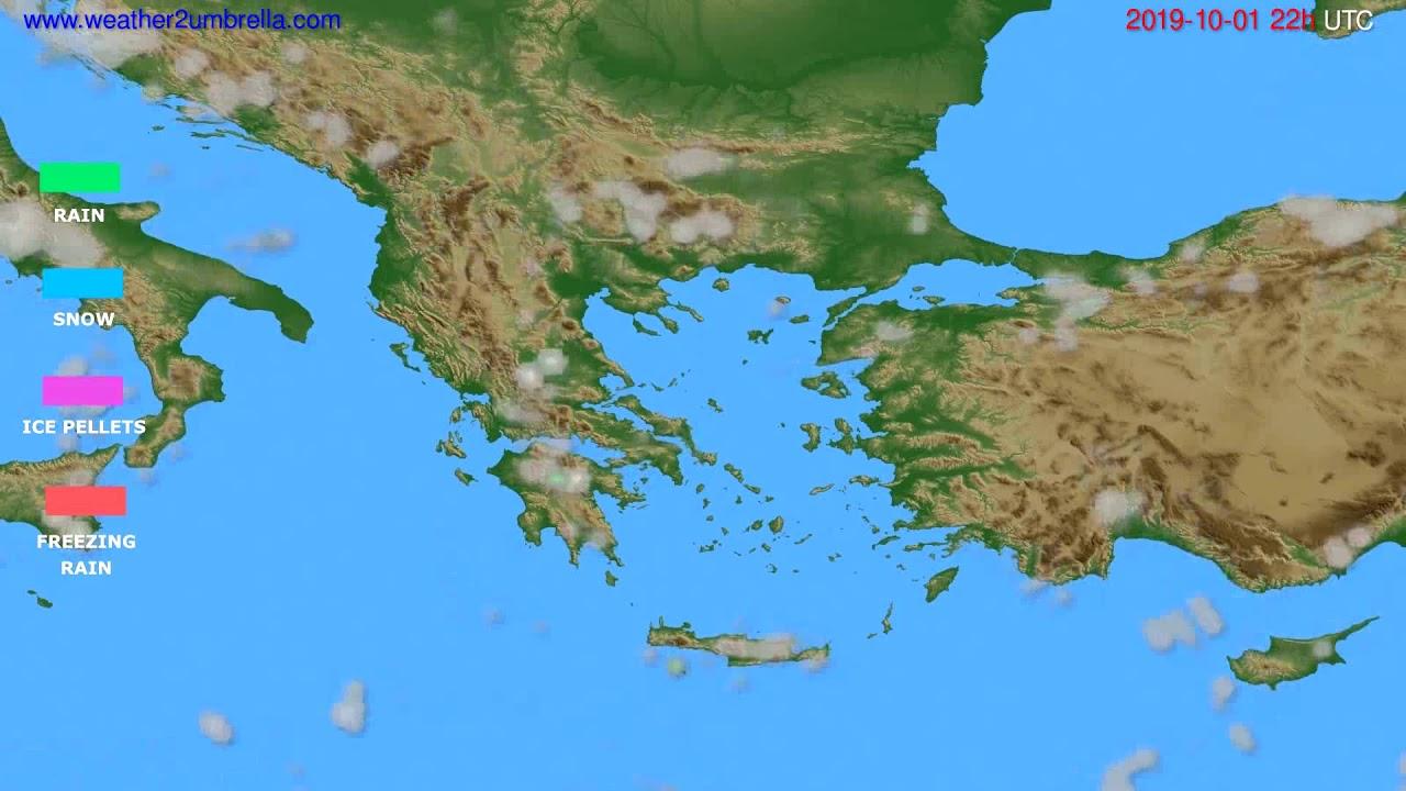 Precipitation forecast Greece // modelrun: 12h UTC 2019-09-29