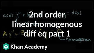 2nd order linear homogeneous differential equations 1 | Khan Academy
