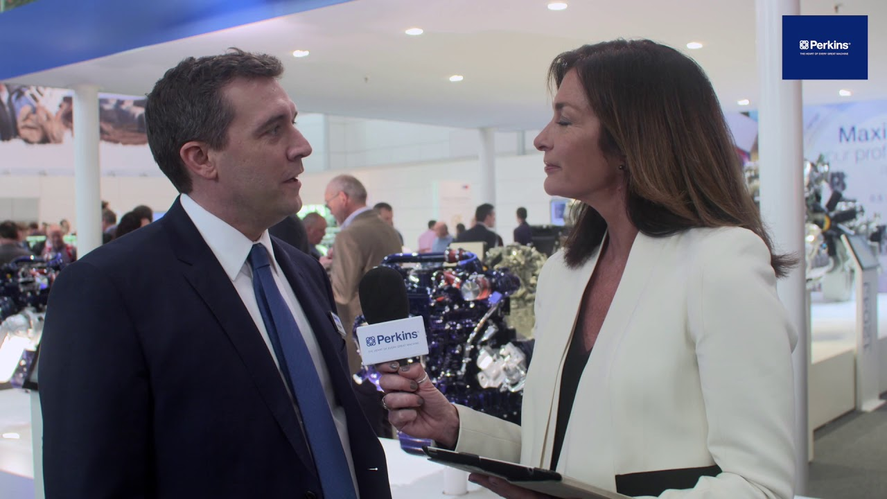 Paul Dixon, explains the Perkins hybrid-hydraulic engine technology on show at Bauma Munich 2019