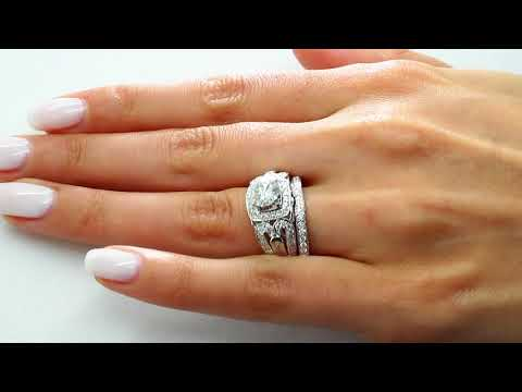 2.35 CT SI1 F ROUND DIAMOND ENGAGEMENT WEDDING RING BRIDAL SET 14K WHITE GOLD
