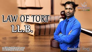 Tort law in India is a relatively new common law development supplemented by codifying statutes including statutes governing damages.The course shall comprises of the following :1) Evolution, Definition, Nature and Scope of Tort.a) Its development by courts of India and England.b) A wrongful Act- Legal Damage.i) Damnum Sine Injuria  ii)  Injuria Sine Damnoc) Joints and Several Feasorsd) Tort distinguished from Crime and Contract.2) General Defences in Tort: With Special References to Volenti Non Fit Injuria, Act of God, Inevitable Accident, Statutory Authority.3) Vicarious Liability with Special Reference to Master's Liability for Acts of Servant.4)Absolute and Strict Liabilities.5) Tort based international wrong doings.a) Affecting Person- Assault, Battery and False Imprisonment.b) Malicious Prosecution.c) Affecting immovable property.6) Tort based on Intentional and Negligent wrong doing.a) Nervous Shock  b) Nuisance  c) Defamation7) Remoteness of DamageSandeep Garg is a professor of Law with teaching experiences in Royal College of Law, Global College of law in Ghaziabad and Keshav Madhav Vidhi Sansthan a guest faculty. He is currently teaching in Keshav Madhav in Greater Noida. Sandeep Sir is a phenomenal teacher and motivator. He has passion of teaching to the core of the subject.He takes care of each important topics and keeps on informing you the questions generally asked in the exam, their weight-age and importance. His lecture even if taken a few days before exams will let you get good marks. His lectures and your efforts will be the key to success.SUBSCRIBE to Watch More Tutorials & Lectures Visit: https://www.youtube.com/c/StudyKhazana** Stay Connected with Us **https://www.facebook.com/studykhazanahttps://twitter.com/studykhazanaahttps://www.instagram.com/study_khazana/Full Course and Lecture Videos now available on (Study Khazana) login at http://studykhazana.com/Contact Us : +91 8527697924Mail Us : mail@studykhazana.com