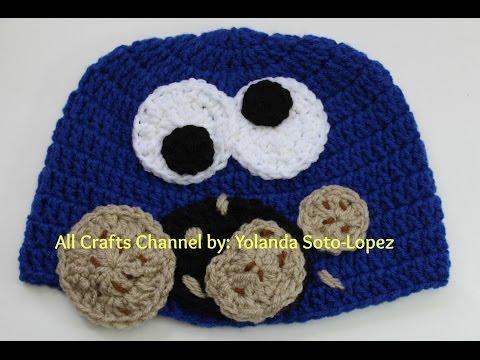 Cookie Monster inspired crochet hat  (Video One)
