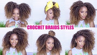 My summertime fine crochet braids tutorial is coming soon! In the meantime, here are 4-6 STYLES that I do with my curly crochet braids. Want more hairstyles like this? THUMBS UP this video.Thanks for watching :)The Crochet Hair I Used ⇢ http://bit.ly/2u3jji8My snag-free hair ties ⇢ http://bit.ly/2u39jDSMy FULL FACE Makeup Routine https://youtu.be/tqXGW-btMOg😋Welcome to my channel! I'm Jodi, and I share my creative ideas through TheBrilliantBeauty by uploading weekly beauty tutorials. My hope is to inspire you to try something new and be confident in the process.⇣KEEP UP WITH MEINSTAGRAM: @thebrilliantbeautySNAPCHAT: brilliantb3autyTWITTER: @BrilliantJodianFACEBOOK: The Brilliant BeautyPINTEREST: The Brilliant BeautyBooking email ⇢ thebrilliantbeautybiz@gmail.com--EQUIPMENT I FILM WITH--Canon 80D http://amzn.to/2a3vnHQRing Light http://amzn.to/2arNbfASONG LIST Aero Chord & Anuka - IncompleteJPB - Up & Away