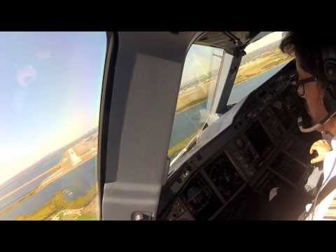 Pilot's view of landing an Airbus A380 at JFK Airport