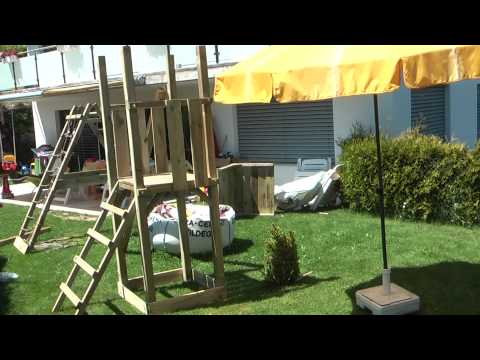 Aufbau XXL Kletterturm Spielturm Rutsche 2 Schaukeln FEHA