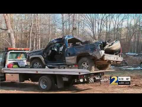 'I heard a big boom'  as truck hit 2 power poles, road signs