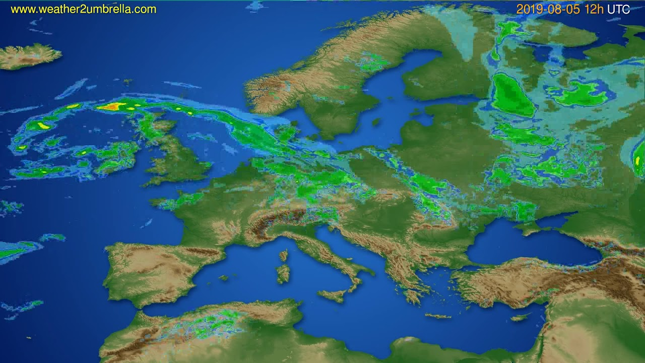 Radar forecast Europe // modelrun: 00h UTC 2019-08-05