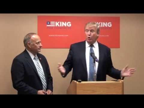 Donald Trump - Real estate mogul and TV star Donald Trump travelled to Iowa to help raise money for conservative Congressman Steve King. The two conducted a press conference during which they repeatedly ...
