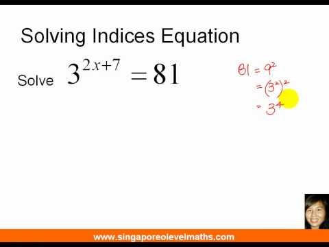GCE O-Level E-Maths: Solving Indices Equation (видео)