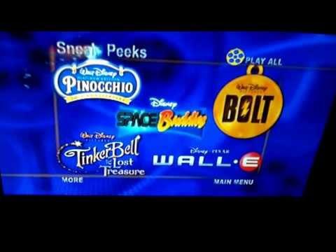 Walt Disney Sneak Peeks Menu