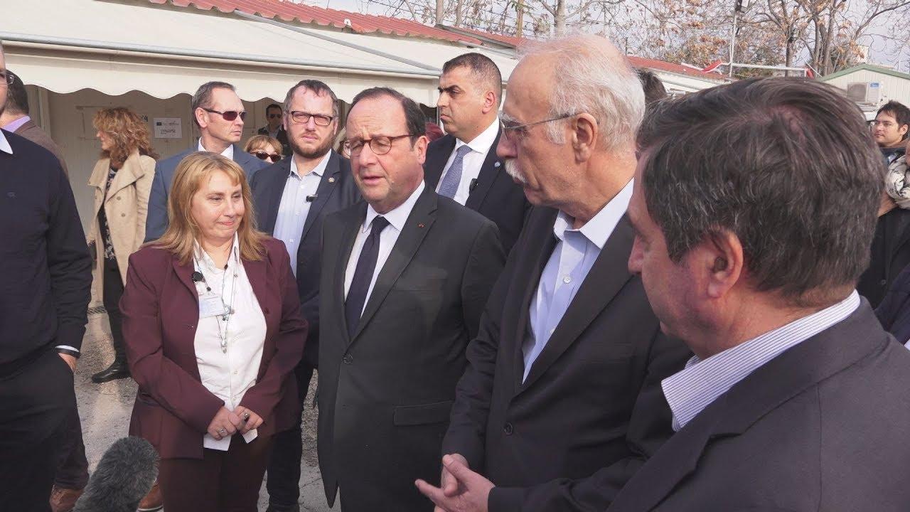Επίσκεψη Φρανσουά Ολάντ στο κέντρο φιλοξενίας προσφύγων στον Ελαιώνα